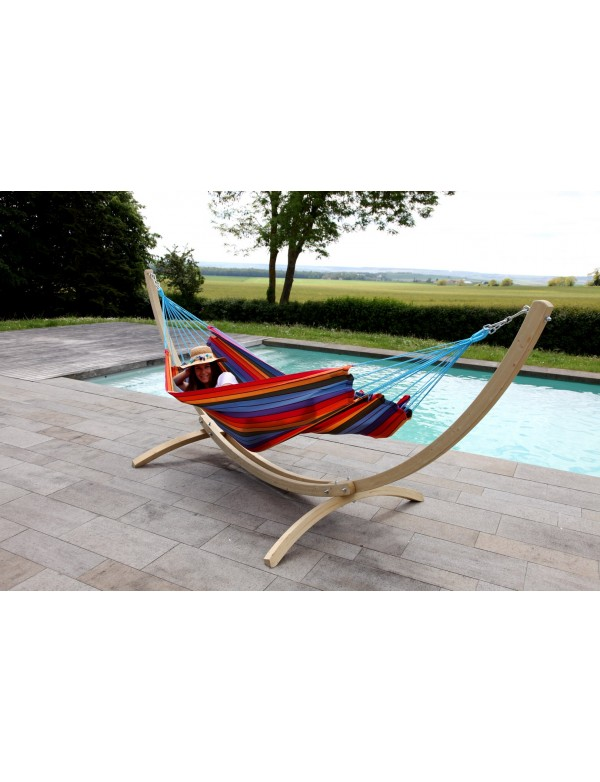 GraphiK - hammock with turquoise and anthracite stripes 100% FSC certified