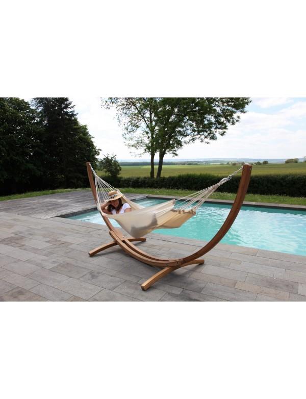 eKlipse set - wood stand with an ecru traditional hammock Kocon